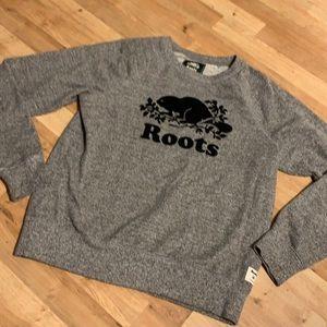 Roots sweat shirt sz m grey black